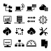 stock photo of vpn  - set of 16 server and network icons - JPG