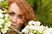 stock photo of freckle face  - Beautiful red - JPG