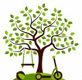 stock photo of scooter  - vector tree with swing - JPG
