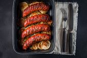 picture of onion  - Sausages baked with onion rings in brytfance - JPG
