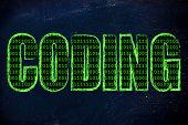 stock photo of binary code  - the word Coding with a binary code pattern fill and chalk - JPG