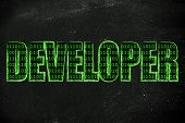 pic of binary code  - the word Developer with a binary code pattern fill and chalk - JPG