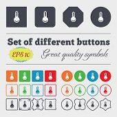 stock photo of temperature  - Thermometer Temperature icon sign Big set of colorful diverse high - JPG