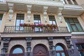 stock photo of kiev  - Flowers on a balcony in Kiev Ukraine - JPG