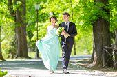 stock photo of stroll  - Bride and groom - JPG