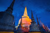 pic of southern  - Ancient Pagoda in Wat Mahathat temple night sceneNakhon Si Thammarat Southern of Thailand - JPG