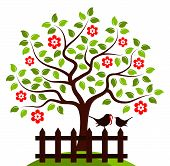 picture of bird fence  - vector flowering tree and picket fence with mother bird and baby bird isolated on white background - JPG