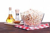 picture of popcorn  - popcorn and ingredients for cooking popcorn side view insulation