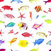 pic of sea fish  - Colorful sea fishes watercolor seamless vector print - JPG