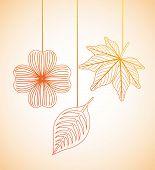 pic of obituary  - autumn flowers design over orange  background vector illustration - JPG
