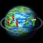 pic of outerspace  - Toy army on Earth globe with sky on background - JPG