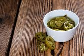 stock photo of jalapeno  - Portion of Jalapenos  - JPG