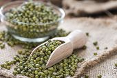 pic of mung beans  - Some Mung Beans on an old wooden table (close-up shot)