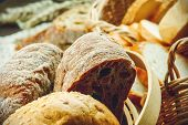 picture of fresh slice bread  - Sliced fresh handmade bread in a basket - JPG