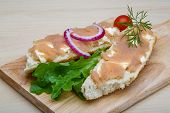 picture of cod  - Sandwich with cod roe salad onion and dill - JPG