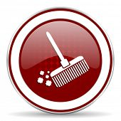 stock photo of broom  - broom red glossy web icon