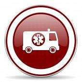picture of ambulance  - ambulance red glossy web icon - JPG
