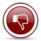 stock photo of dislike  - dislike red glossy web icon - JPG