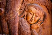 stock photo of carving  - Abstract wood carving art of in Thailand - JPG