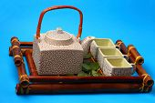 foto of serving tray  - Asian tea set served on a bamboo tray - JPG