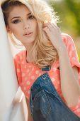 image of pink eyes  - Very beautiful blonde girl with big brown eyes - JPG