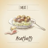 stock photo of meatball  - Vector vintage watercolor sketch plate with meatballs - JPG