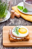 stock photo of chive  - healthy egg sandwich with garlic chives with tea - JPG