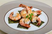 foto of tiger prawn  - Roasted Tiger shrimps cocktail with herbs and spices - JPG