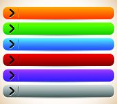 stock photo of oblong  - empty blank oblong long horizontal buttons banners with arrows - JPG