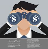 picture of binoculars  - Business and finance vision concept - JPG