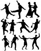 foto of elderly couple  - Set of editable vector silhouettes of elderly couples dancing together with all figures as separate objects - JPG