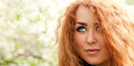 picture of freckle face  - Beautiful face of young red - JPG