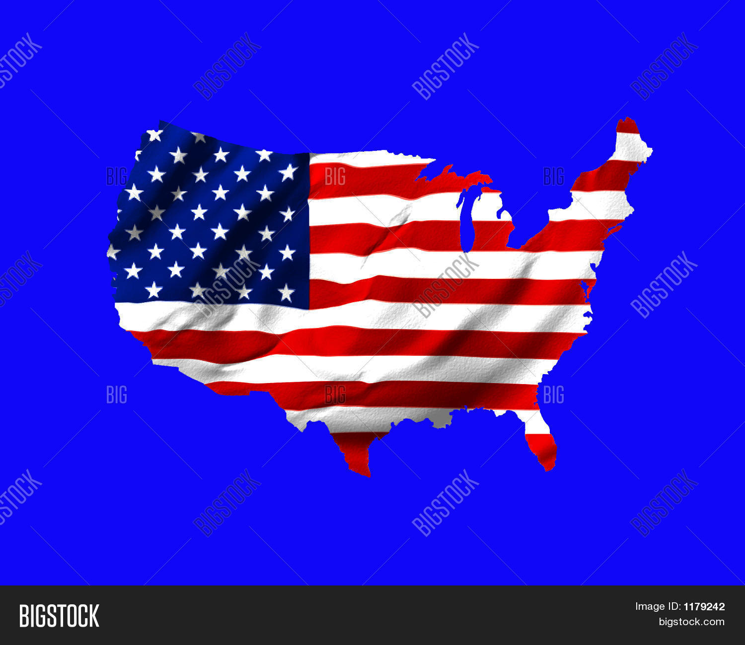 American Flag Shaped As Map Of USA On Blue Stock Photo  Stock - Us map american flag