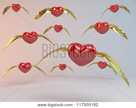 3d Flying Hearts with golden wings