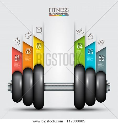 Fitness statistics and infographics with dumbbell.