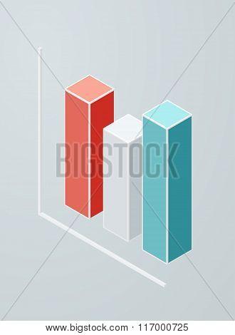 Isometric column chart icon.