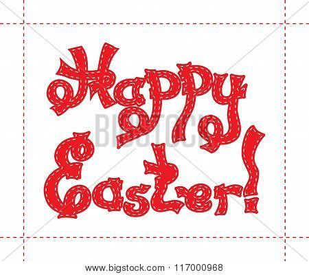 Hand drawn sketch of red text Happy Easter with white quiltings on the border