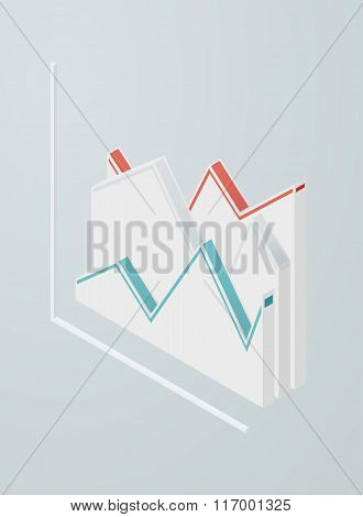 Isometric line chart icon.