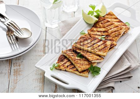 Grilled fried tofu on a plate