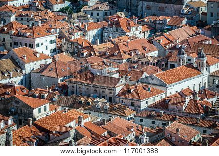 red roofs of Old Town buildings seen from Walls of Dubrovnik in Croatia