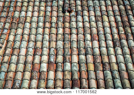 Close up in tiled roof in Dubrovnik Croatia