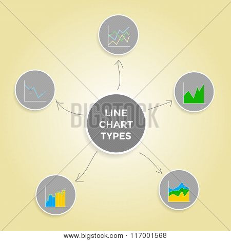 Mind map line chart types - Set of Infographic Elements Collection.