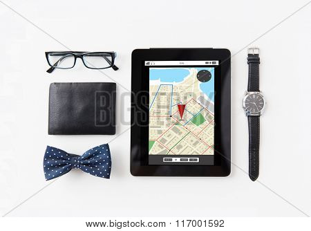 tablet pc with navigator map and personal stuff