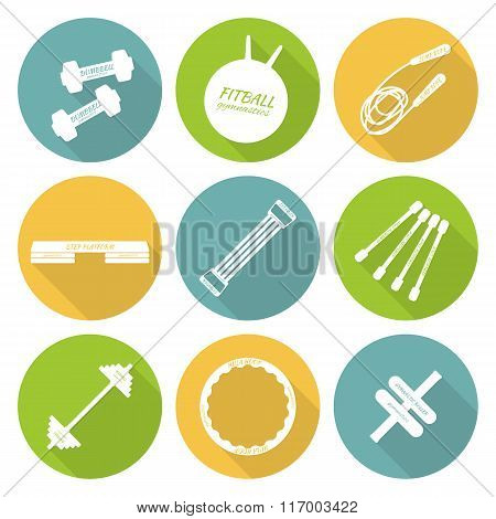 Set of flat icons of tools and accessories for fitness and sport