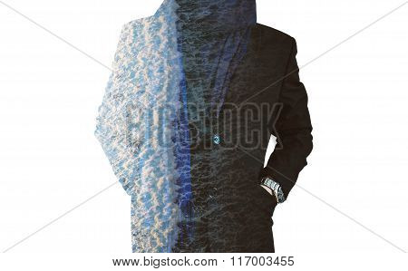 Double exposure, a man in winter suit with layers of wave pattern, isolated on white background