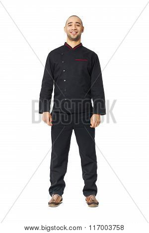 Fullbody Portrait Of Afro American Professional Cook Isolated.