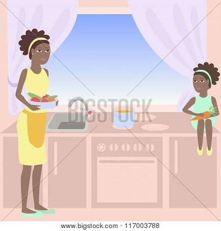 African Mother And Daughter Are Cooking Soup Together In A Kitchen