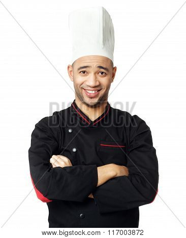 Portrait Of Happy  Afro American Professional Cook Isolated.