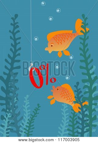 Vector Illustration Of 2 Goldfishes Interested In 0% Bait. No Mesh And Transparency. Gradient Used.