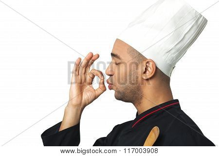Profile Portrait Of Happy Afro American Professional Cook Isolated.
